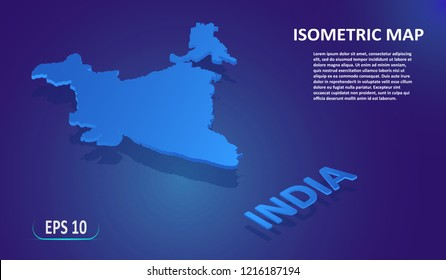 Isometric map of India. Modern flat map of the European country on blue background. Isolated 3D isometric concept for infographic. Vector illustration. EPS 10.