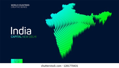 Isometric map of India with neon circle lines