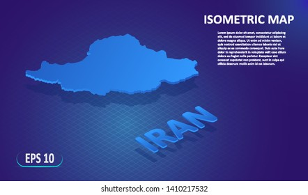 Isometric map of the IRAN. Stylized flat map of the country on blue background. Modern isometric 3d location map with place for text or description. 3D concept for infographic. Vector illustration EPS