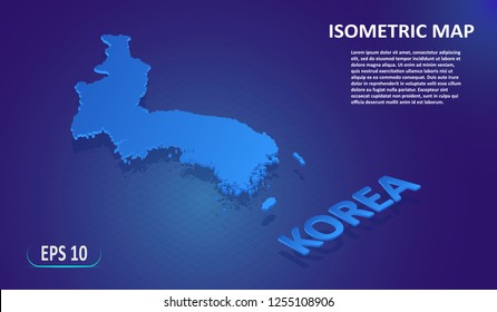 Isometric map of KOREA. Stylized flat map of the Asian country on blue background. Modern isometric or 3d location map with place for text or description. Isolated 3D concept for infographic.EPS10