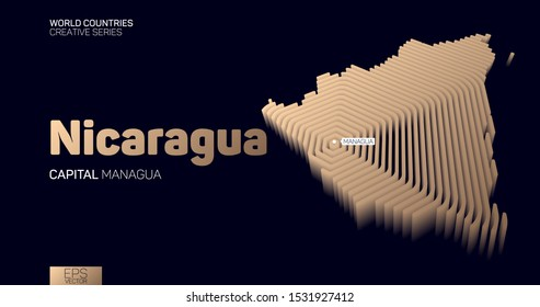 Isometric map of Nicaragua with golden hexagon lines
