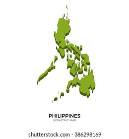 Isometric map of Philippines detailed vector illustration. Isolated 3D isometric country concept for infographic