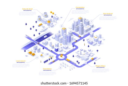 Isometric map, plan, scheme of modern megapolis riverside city with different zones - downtown, industrial district with power plants, suburban area. Infographic design template. Vector illustration.