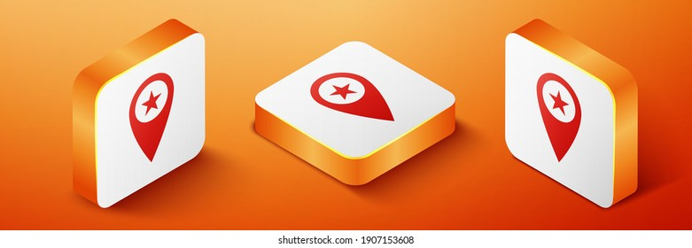 Isometric Map pointer with star icon isolated on orange background. Star favorite pin map icon. Map markers. Orange square button. Vector.