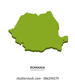 Isometric map of Romania detailed vector illustration. Isolated 3D isometric country concept for infographic