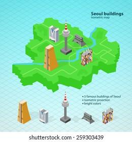 Isometric map of Seoul, Korea. Korean landmarks. Famous Korean buildings. N Tower, Namsan tower, 63 building, han river, namdaemun.
