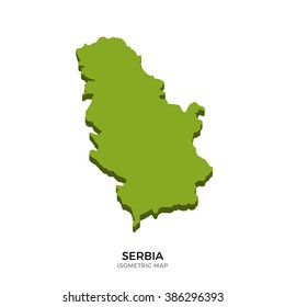 Isometric map of Serbia detailed vector illustration. Isolated 3D isometric country concept for infographic