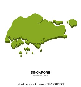 Isometric map of Singapore detailed vector illustration. Isolated 3D isometric country concept for infographic