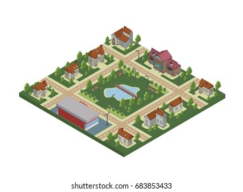 Isometric map of small town or cottage village. Private houses, trees and pond or lake. Vector illustration, isolated on white background.