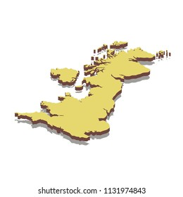Isometric map of United Kingdom. Isolated 3D isometric vector illustration for infographic.