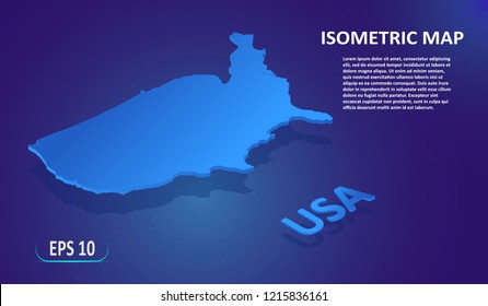 Isometric map of USA. Modern flat map of the United States of America on blue background. Isolated 3D isometric country concept for infographic. Vector illustration. EPS 10.