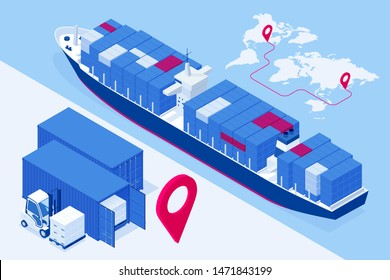 Isometric Maritime transport logistics concept. Ship cargo delivery or boat shipping containers and parcel boxes. Import export business logistic, transportation of international by container cargo.