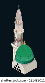 Isometric Masjid Al Nabawi ..The prophet Mosque vector art
