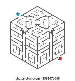 Isometric maze of the Gift box