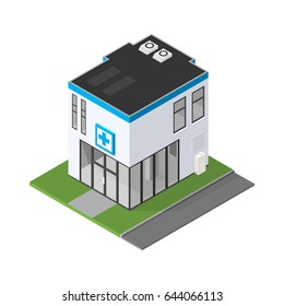 Isometric Medical Clinic Hospital Icon. Vector illustration of a new doctor's surgery or emergency services center.