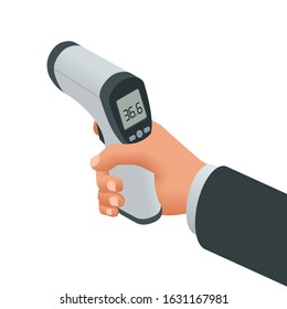 Isometric Medical Digital Non-Contact Infrared Thermometer. It measures the ambient and body temperature without contact with colored warning symbols.