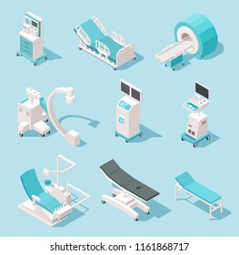 Isometric medical equipment. Hospital diagnostic tools. Health care technology 3d machines vector set. Medical equipment, x-ray and resonance device, monitor mri illustration