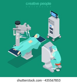 Isometric medical hospital healthcare computer electronic modern equipment doctor operator. Innovative medicine concept. Flat 3d isometry style web site vector illustration. Creative people collection