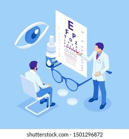 Isometric Medical Ophthalmologist Eyesight Check-Up concept. Medical Ophthalmologist Eyesight Check-Up concept.