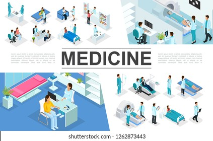 Isometric medicine elements collection with doctors patients nurses medical diagnostic procedures MRI scan pharmacy laboratory research interior elements vector illustration