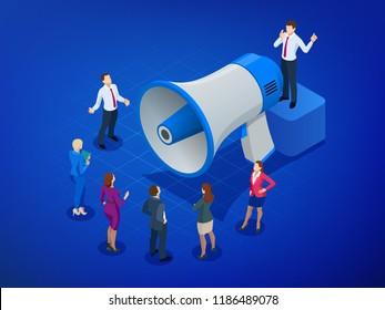Isometric Megaphone and people. Digital marketing, blog marketing, blog post sharing, social media marketing concept. Native advertising concept. Vector illustration.