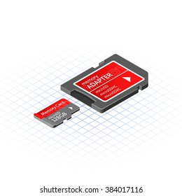 Isometric Memory Micro Secure Digital with Adapter Vector Illustration