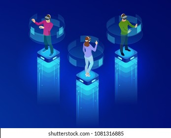 Isometric men and a woman wearing goggle headset with touching vr interface. Into virtual reality world. Future technology
