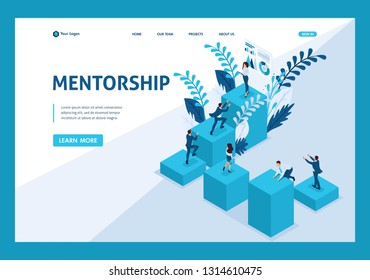 Isometric mentorship and its impact on business success. Website Template Landing page.