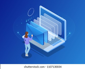 Isometric message online chat social text concept. Business woman holding smartphone with emails. Vector illustration