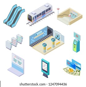 Isometric metro elements. Subway train, station platform and escalator, turnstile and underground tunnel. 3d subway vector collection