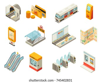 Isometric metro station elements set with train tunnel tickets atm map platform escalator turnstile security booth isolated vector illustration