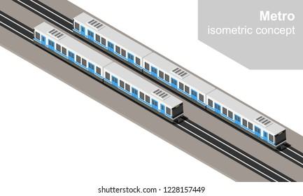Isometric metro trains vector illustration. Subway or undeground transport.