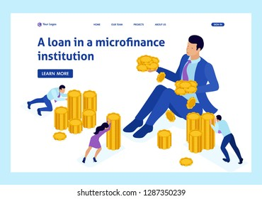 Isometric microfinance organization, big businessman holding a lot of money. Website Template Landing page.