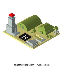 isometric. Military base with hangar, military tent, observation tower, bunker, helipad and tower. The color of green. Sand. Desert
