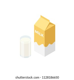 Isometric milk pack and glass of milk vector icons