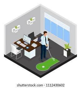Isometric mini golf template with businessman playing game on small course in office vector illustration