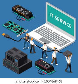 Isometric miniature concept with information technology service people at work on blue background 3d vector illustration