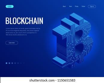 Isometric mining Bitcoin farm. Cryptocurrency, blockchain, bitcoin mining concept. Big data processing, server room rack vector illustration