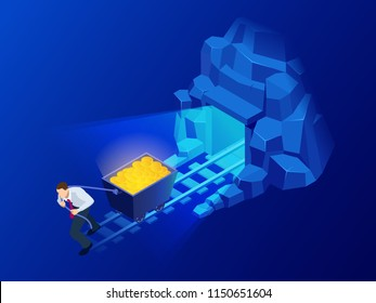 Isometric mining Bitcoin farm. Cryptocurrency, blockchain, bitcoin mining concept. Big data processing, server room rack vector illustration