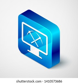Isometric Mining concept with laptop and pickaxe icon isolated on white background. Blockchain technology, cryptocurrency mining, digital money market. Blue square button. Vector Illustration