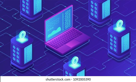 Isometric mining farm concept. Bitcoin mining farm, cryptocurrency mining concept. Blockchain server room racks and laptop on ultraviolet background. Vector 3d isometric illustration