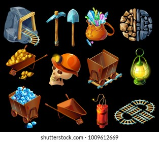 Isometric mining game elemens set with pick shovel minerals gold gems stones lantern skull helmet dynamite trolleys railroad isolated vector illustration