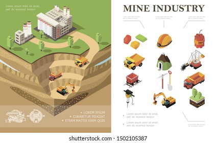Isometric mining industry concept with factory industrial vehicles digging quarry mine precious stones dynamite shovel pickaxe trees hammer drill miner helmet vector illustration