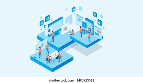 isometric mobile application and web design development process concept and group business team working