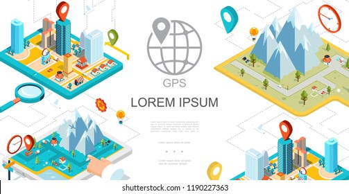 Isometric Mobile GPS Navigation Composition