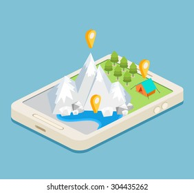 An isometric mobile map showing mountains, a forest and a campsite