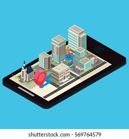 Isometric mobile navigation template with traveler modern city route and pin on blue background isolated vector illustration