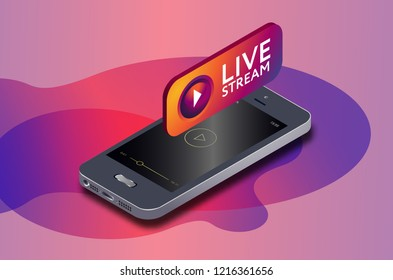 Isometric mobile phone and instagram live video stream icon. IG icon. instagram online streaming via smartphone.  3d isometric vector illustration.