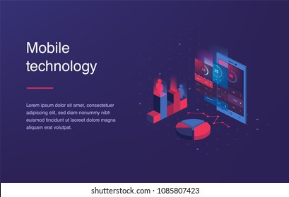 Isometric mobile phone. Smart and simple web interface with different apps and icons. 3d vector. Web banner with laptop and currency. Isometric gradient style. Home page concept. UI design mockup