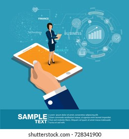 Isometric Mobile report analysis tool app flat 3d.  business concept web vector illustration. Businessmen hold the phone and show graphic secretary present. Creative people collection.